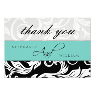 Aqua Wedding Thank You Card Personalized Announcement