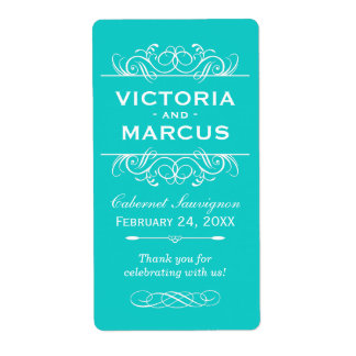 Aqua Wedding Wine Bottle Monogram Favor Labels