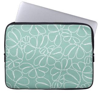 Aqua Whimsical Ikat Floral Petal Doodle Pattern Laptop Computer Sleeve