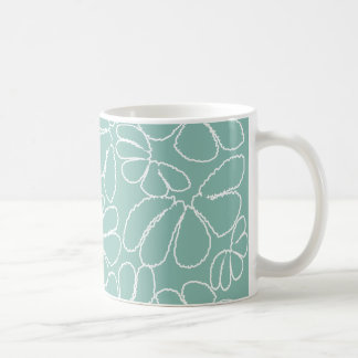 Aqua Whimsical Ikat Floral Petal Doodle Pattern Coffee Mugs