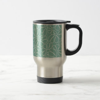 Aqua Whimsical Ikat Floral Petal Doodle Pattern 15 Oz Stainless Steel Travel Mug