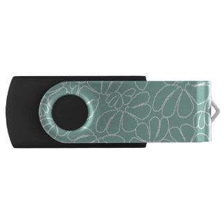 Aqua Whimsical Ikat Floral Petal Doodle Pattern Swivel USB 2.0 Flash Drive