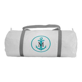Aqua White Anchor and Monogram Gym Duffel Bag