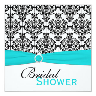 Aqua, White, and Black Damask Bridal Shower Invite