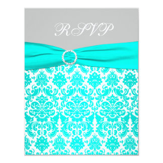 Aqua, White, and Gray Damask RSVP Card