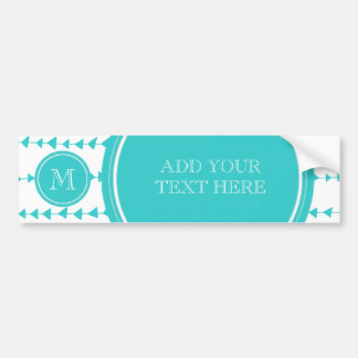 Aqua White Aztec Arrows Monogram Car Bumper Sticker