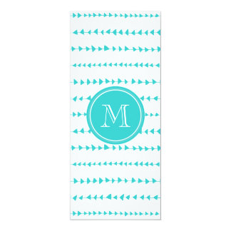 Aqua White Aztec Arrows Monogram 10 Cm X 24 Cm Invitation Card