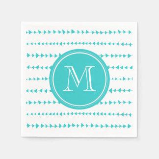 Aqua White Aztec Arrows Monogram Paper Napkin