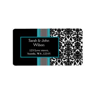 Aqua White Black Damask Wedding Invitations Label