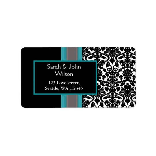 Aqua White Black Damask Wedding Invitations Label