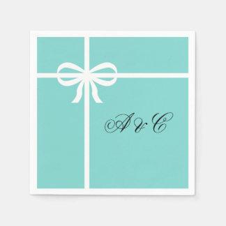 Aqua & White Bows Party Napkins Paper Serviettes