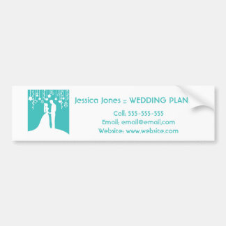 Aqua White Bride and Groom Wedding Silhouettes Bumper Stickers