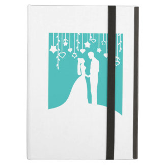 Aqua & White Bride and Groom Wedding Silhouettes Case For iPad Air