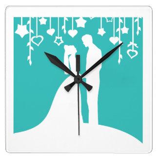 Aqua & White Bride and Groom Wedding Silhouettes Wallclocks