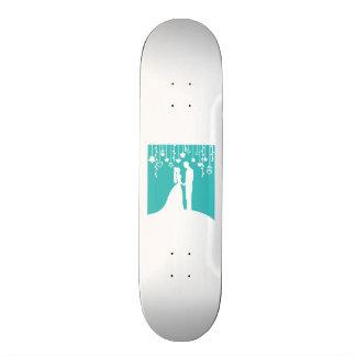 Aqua & White Bride and Groom Wedding Silhouettes Skateboard Deck
