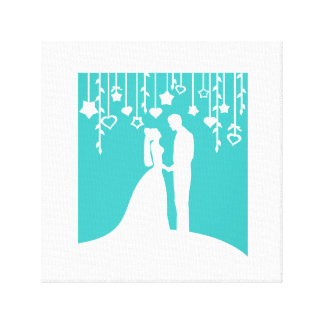 Aqua & White Bride and Groom Wedding Silhouettes Stretched Canvas Print