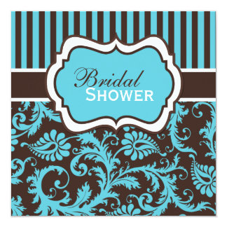 Aqua, White, Brown Damask Bridal Shower Invite