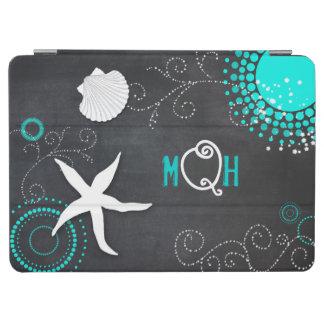 Aqua White Chalkboard Beach Monogram iPad Air Case