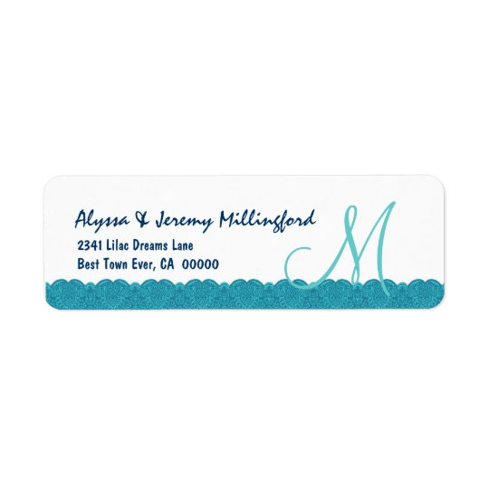 Aqua White Damask Monogram Lace Wedding E340 Return Address Label