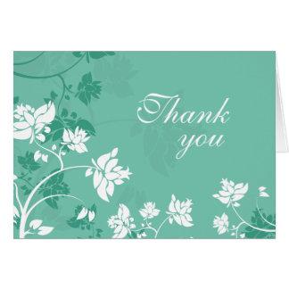 Aqua white floral swirls wedding thank you card