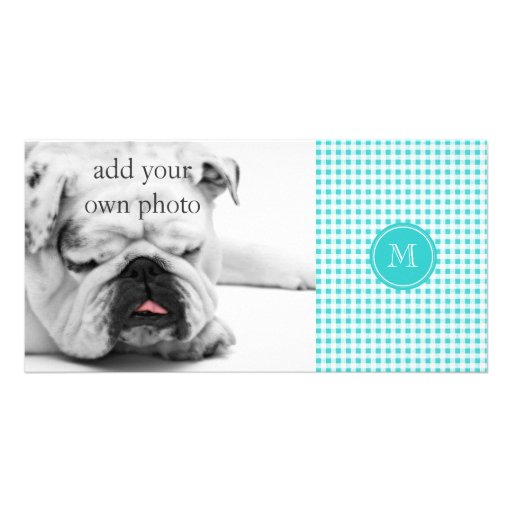 Aqua White Gingham Pattern, Your Monogram Picture Card