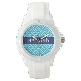 Aqua White Greek Key Pattern Blue Template Wrist Watch