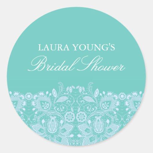 Aqua & White Lace | Bridal Shower Sticker