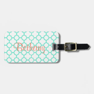 Aqua & White quatrefoil design Luggage Tag
