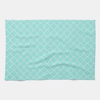 Aqua White Quatrefoil Kitchen Cloth Towel