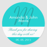 Aqua White Simple Initial Wedding Favour Thank You Round Stickers