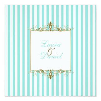 Aqua, White Stripes with Gold Scrolls Invitation