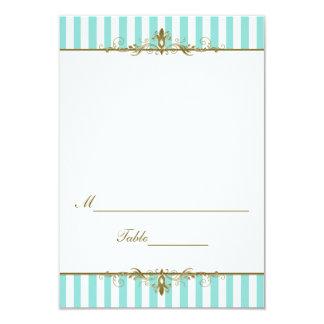 Aqua, White Stripes with Gold Scrolls Placecard 9 Cm X 13 Cm Invitation Card