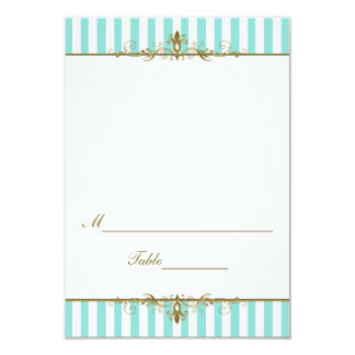 Aqua, White Stripes with Gold Scrolls Placecard Personalized Invites