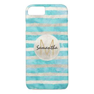 Aqua White Watercolor Stripes Monogram iPhone 8/7 Case