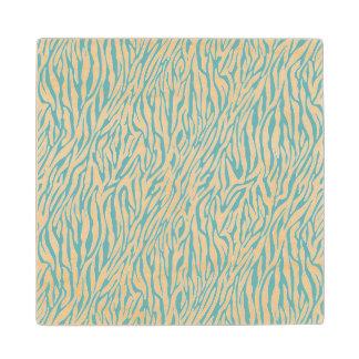 Aqua White Zebra Print Maple Wood Coaster
