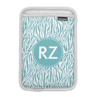 Aqua White Zebra Print monogram iPad Mini Sleeves