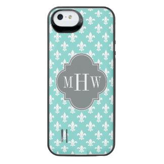 Aqua Wht Fleur de Lis Lt Charcoal 3 Init Monogram iPhone SE/5/5s Battery Case