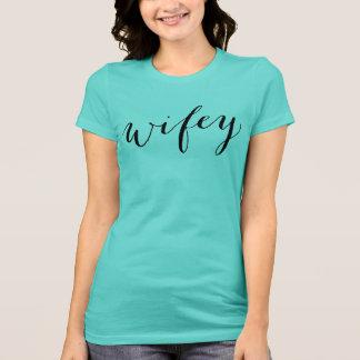 Aqua Wifey Shirt | Black Script Style