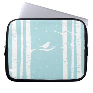 Aqua Winter Birch Trees and Bird Laptop Sleeve