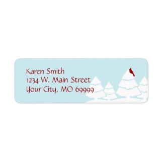 Aqua Winter Cardinal Address Labels