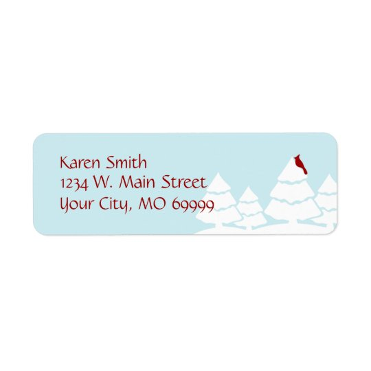 Aqua Winter Cardinal Address Labels