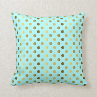 Aqua with Gold Polka Dot Decorator Accent Pillow Throw Cushion