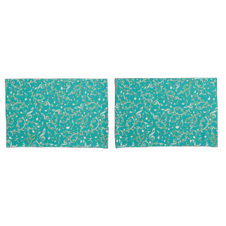 Aqua With White Gold Music Notes Pillowcases