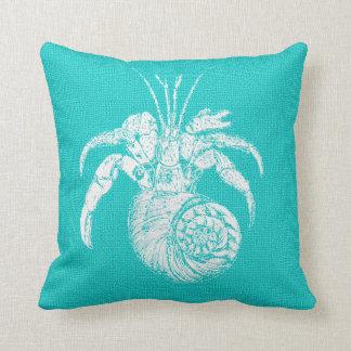 Aqua with White Hermit Crab Burlap Look Throw Pillow