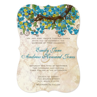 Aqua Yellow Cherry Blossom Tea Stain Invitations