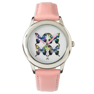 Aqua , Yellow  Monogram -  Elegant Butterflies Watch
