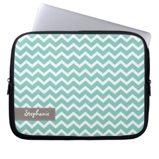 Aqua Zig Zag Chevrons Pattern Laptop Sleeve