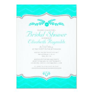 Aqua Zigzag Bridal Shower Invitations