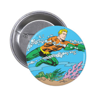 Aquaman Dashes Thru Water 6 Cm Round Badge
