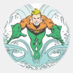 Aquaman Lunging Forward Round Sticker